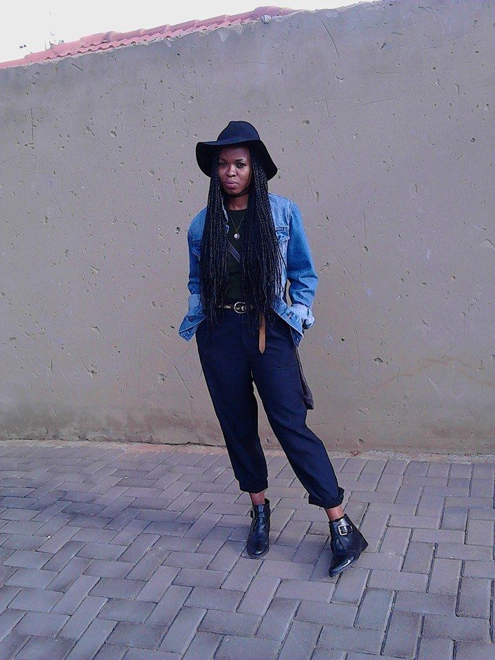 topshop fedora hat,bodycon' dress and shoes topman oversized denim jacket western inspired belt gran ma's wardrobe  navy tailored pants from painted studio