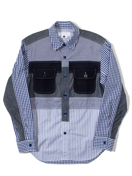 GANRYU Mixed Patchwork Fabric Shirt