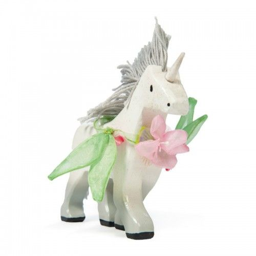 A white wooden unicorn with floral nosegay. 	Scaled for Budkins characters and the perfect addition to any fairy castle.