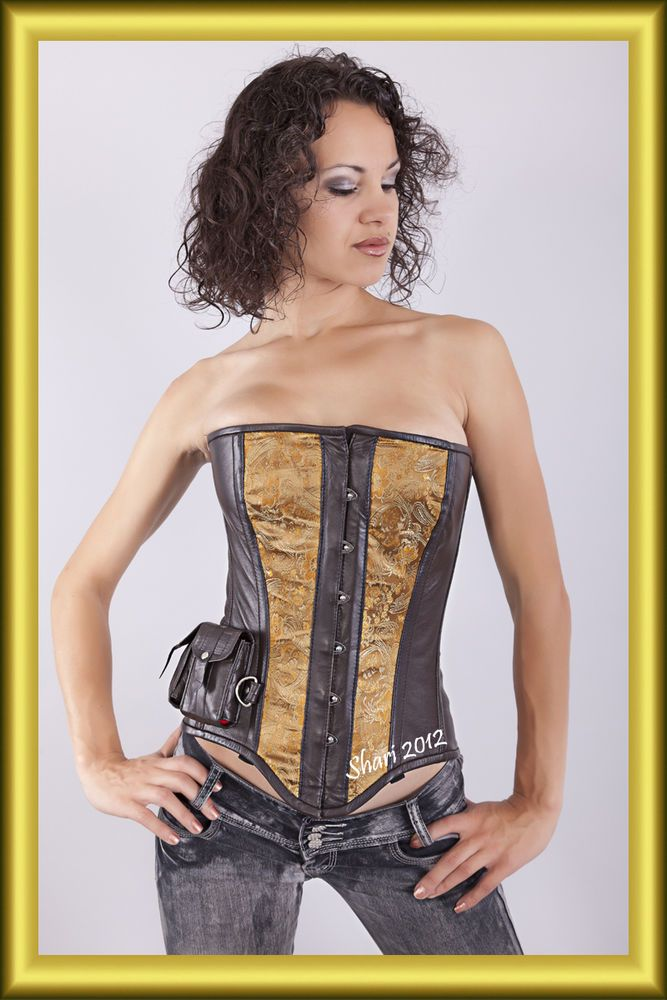 Brown Victoria Steampunk Sexy Stylish Leather Corset Full burst #Europastyle #LaceUp