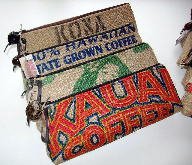 Purses made from Repurposed Hawaiian Coffee Burlap Bags
