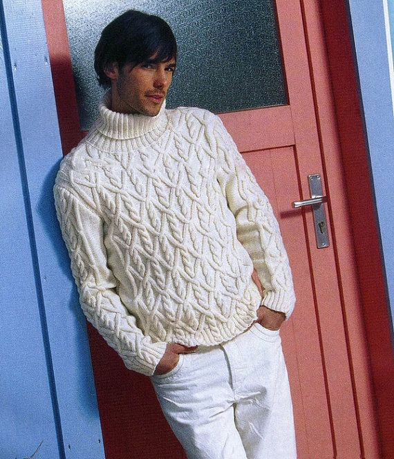 MADE TO ORDER Sweater aran men hand knitted by LuxuryKNITTING2013