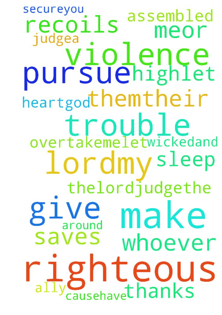 Psalm 7 -  Lordmy God, I take refugein you;save and deliver mefrom all who pursue me,2or they will tear me apart like a lionand rip me to pieces with no one to rescueme. 3Lordmy God, if I have done thisand there is guilt on my hands4if I have repaid my ally with evilor without causehave robbed my foe5then let my enemy pursue and overtakeme;let him trample my life to the groundand make me sleep in the dust.c 6Arise,Lord, in your anger;rise up against the rage of my enemies.Awake,my God…