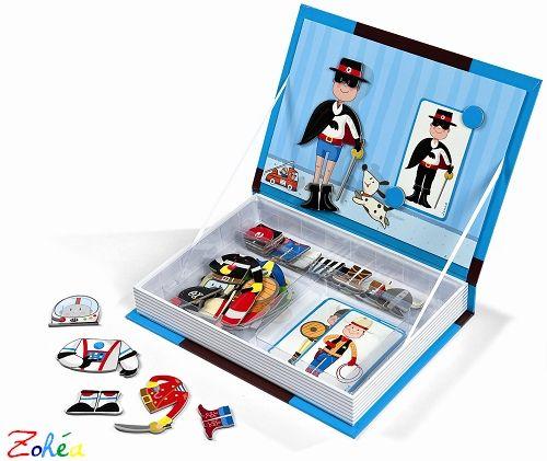 A partir de 8 magnets personnages, recompose les costumes grâce aux 28 magnets habits. Tu peux également créer des costumes complètement fous selon tes inspirations. Joli coffret présenté comme un livre à ranger dans une bibliothèque. 40 magnets.