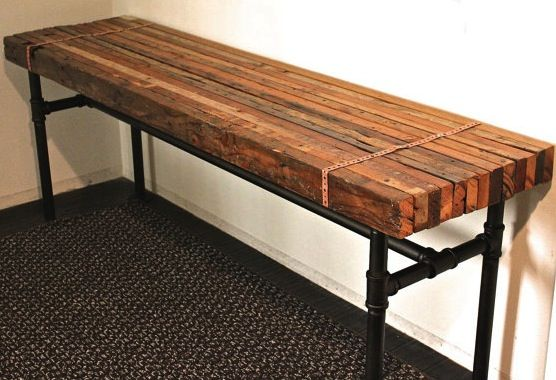 Rustic industrial bench diy with butcher block for Rustic pipe table