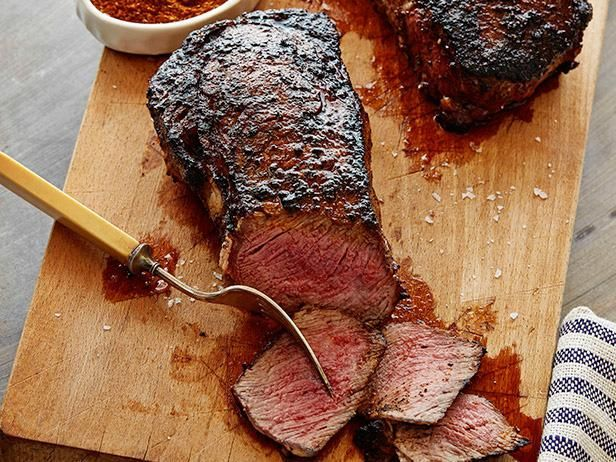 Coffee Rubbed Rib-Eye: Bobby Flay coats rib-eye steaks with a flavor-forward rub that includes espresso, chili powder and Spanish paprika. After a quick turn on the grill, the juicy meat is ready to serve.