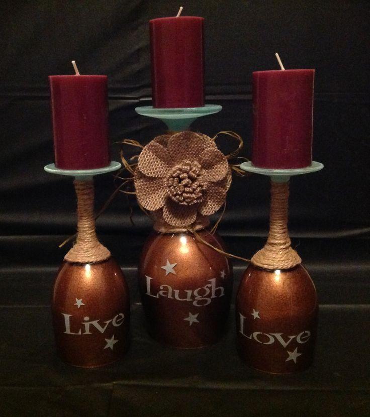 Christmas wine glass candle holders ideas wine glass for Wine bottle candle holder craft
