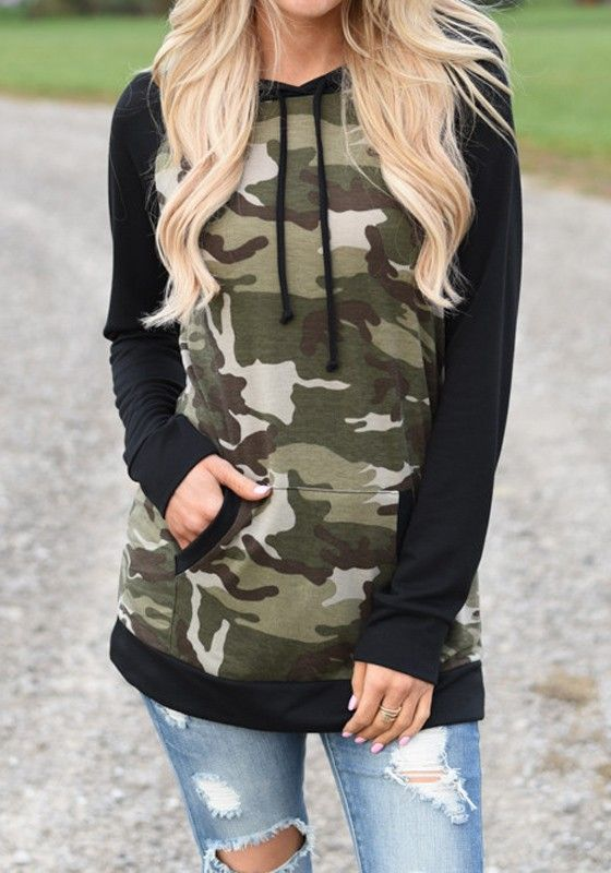 Camouflage Patchwork Pattern Hooded Casual Cotton Pullover Sweatshirt