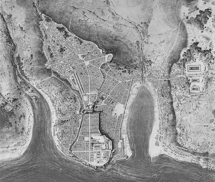 Reconstructed aerial view of Selinunte by Hulot and Fougeres.