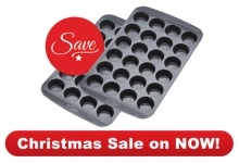 Bakeware : 2 x Mini Muffin   Muffin - 24 Cup XMINI  Blind-baking made easy  2 for $40.00 save $39.80    With this great value duo, creating pastry cases for mouth-watering canapés and other bite-sized delights has never been easier! Simply line one Mini Muffin tray with your pastry and place the second tray over the top! And there you have it: the easiest blind baking ever!     Valued at $79.80 this set includes:  2 x Mini Muffin – 24 Cup Pans     Measures 30ml (or 2 tsp) per muffin cup…