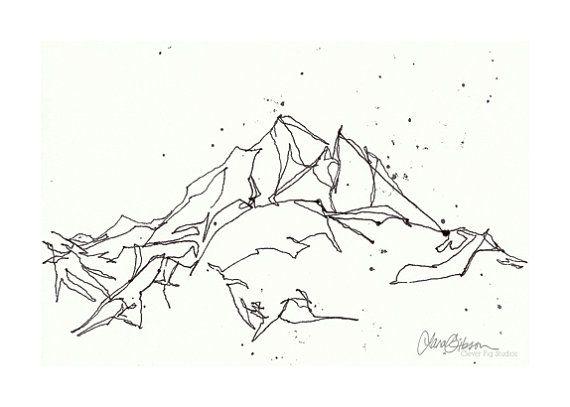 Dessin au trait montagne d'impression 5 x 7 - hiver neige Art - Art de mur noir et blanc
