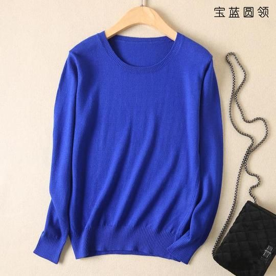 JVEII Fashion autumn and winter cashmere sweater women pullover knit O-neck sweater female plus size blue women's clothing 5