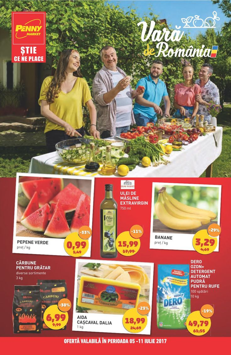 Catalog Penny Market 05 - 11 Iulie 2017! Oferte si recomandari: pepene verde 0,99 lei; telina cu frunze 1,69 lei; gulii 0,89 lei; ceapa verde 0,59 lei