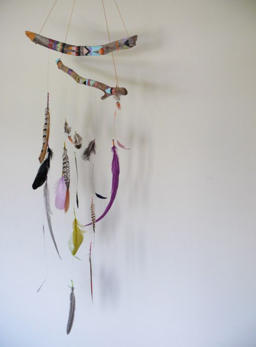 Simple, boho feather mobile.