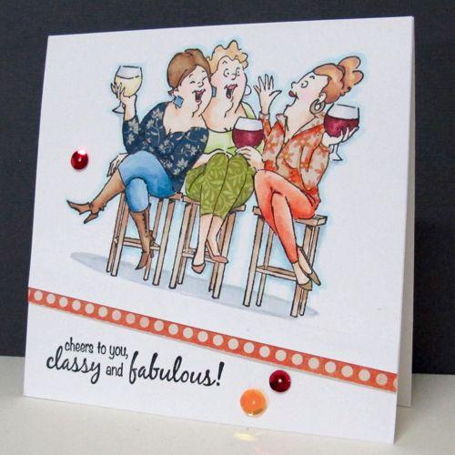 Art Impressions Rubber Stamps: Ai Girlfriends: Wine Tasters Set (Sku#4383) ... handmade card.
