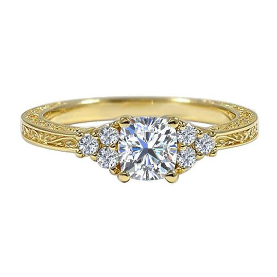 Petite engraved ring in gold finish is delicate and complements any girl who loves jewelry. Available 14k White Gold,14k Yellow Gold,14k Rose Gold And Silver .925 ♥ Engraved vintage Princess & Round Cut CZ Engagement Ring ♥ Model No → AG23 ♥ Metal → Sterling Silver & 14k Gold ♥ Metal Stamp
