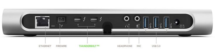 Belkin Thunderbolt Express Dock, 1 Thunderbolt port for daisy-chaining, Audio I/O, Ethernet, Firewire 800 and 3 USB3.0 out. Available soon for $300.