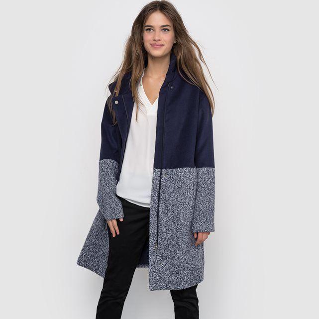 Manteau bi-matière, col montant R édition