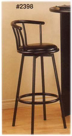Two Satin Black Swivel Bar Stools By Cross Country