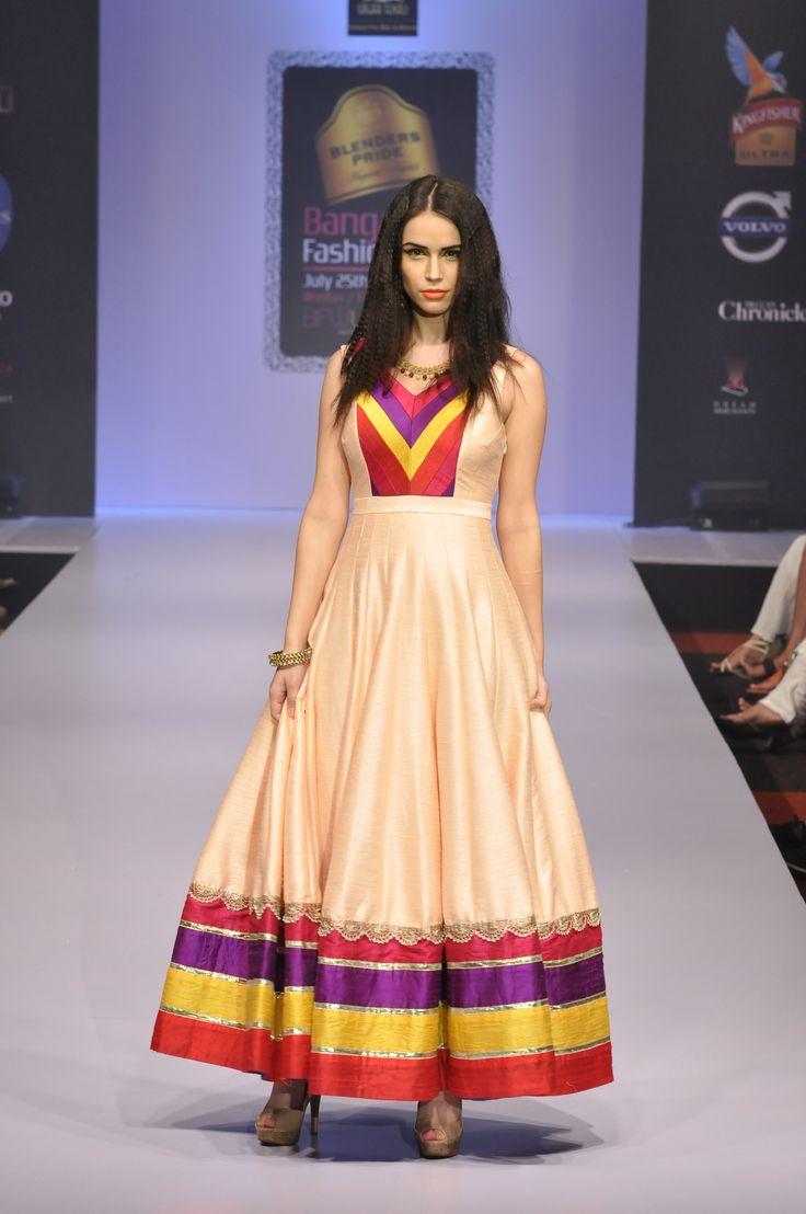 peach silk long dress..by sagar tenali.