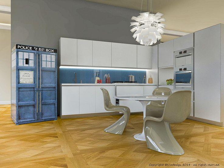 """Ambientazione frigorifero Smeg 4 porte mod. FQ60BPE customizzato con skin """"Tardis"""", cabina di Doctor Who with #liadesign www.liadesign.it  #interiordesign #doctorwho #kitchendecoration #kitchen"""
