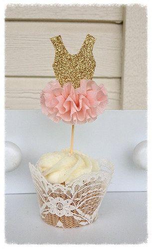 Birthday Decoration Gold Glitter Ballerina Tutu Cupcake Toppers Birthday Decoration Ballet Decor Set Of Six Birthday Party