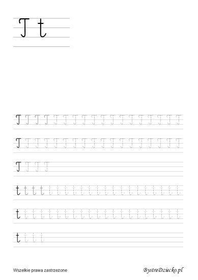 Nauka pisania dla dzieci, t pisane, pomoc w kształceniu grafomotoryki, Anna Kubczak