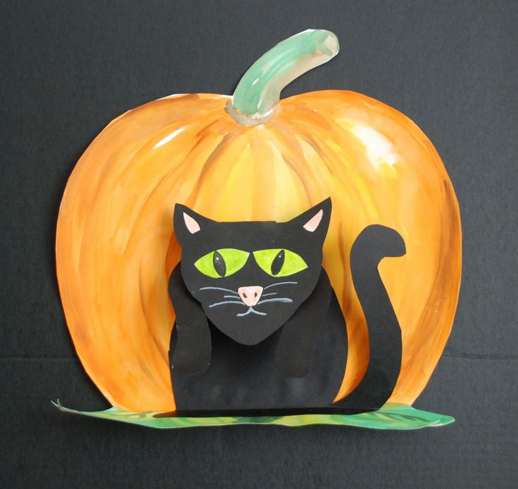 Here is another Halloween art project.   It's 3D with the cat sitting out from the pumpkin background.            Very easy to make and ma...