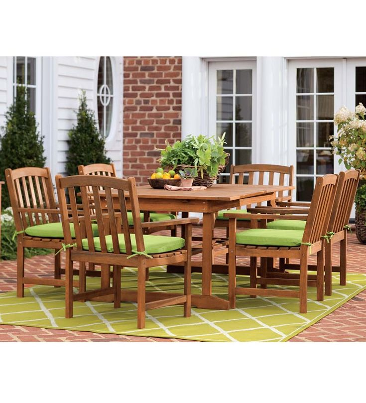 Forest Stewardship Council-Certified Eucalyptus Outdoor Extension Table and Six Chairs Set. Renewable, sustainable eucalyptus is durable and strong, great for outdoor use.