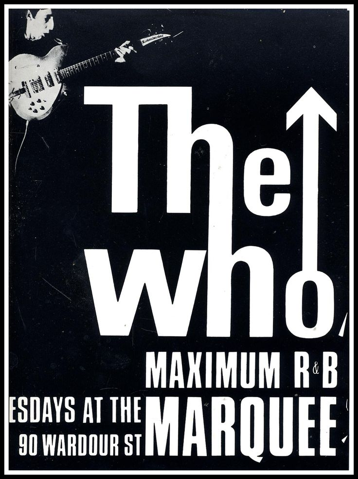 The who maximum r b marquee club black and white poster