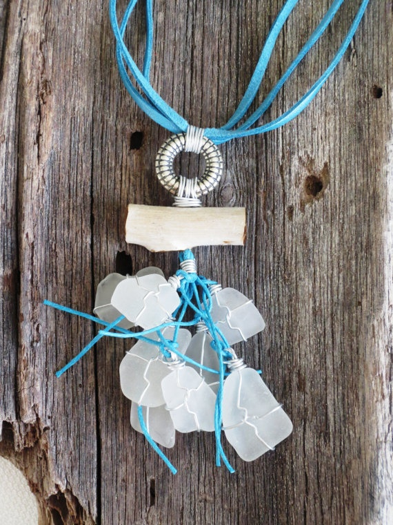 Sea glass short necklaces by Analubags on Etsy, $30.00