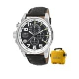 Invicta Men's 13053 Force Chronograph Black Dial Black Leather Watch with Yellow Impact Case