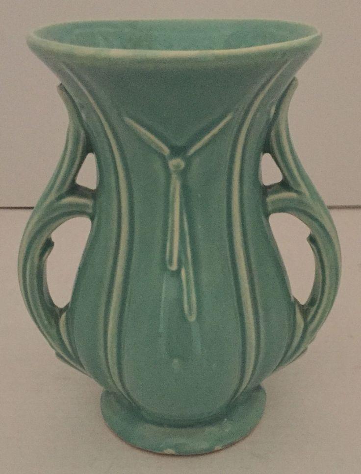 Vintage 1940s Mccoy 2 Handled Green Celadon Tassel Vase 8 188