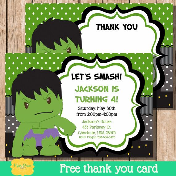 20 best images about Superhero Birthday Party – Hulk Party Invitations