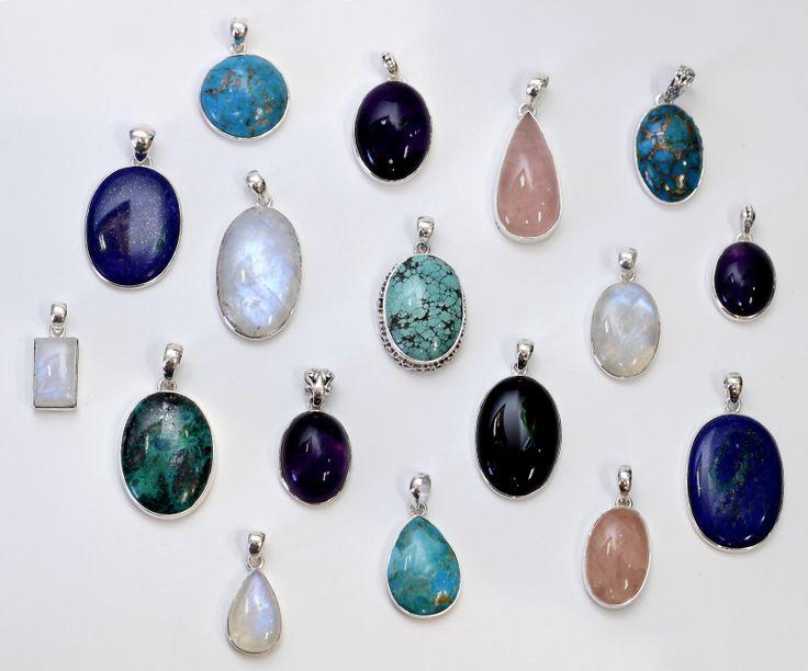 New! Sterling silver gemstone pendants... Turquoise, Rose Quartz, Chrysocolla, Lapis Lazuli, Moonstone & Onyx.
