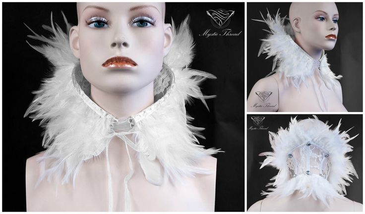 White feathered lace neck corset decorated with white Preciosa crystal gems in the back by Mystic Thread / e-shop: www.mysticthread.com / facebook: www.facebook.com/mysticthread.ltd / DeviaArt: mysticthread.deviantart.com / Tumblr: mysticthread.tumblr.com / Twitter: twitter.com/mysticthread / Instagram: www.instagram.com/mysticthread / Photo by Undefiled Photography & Editing