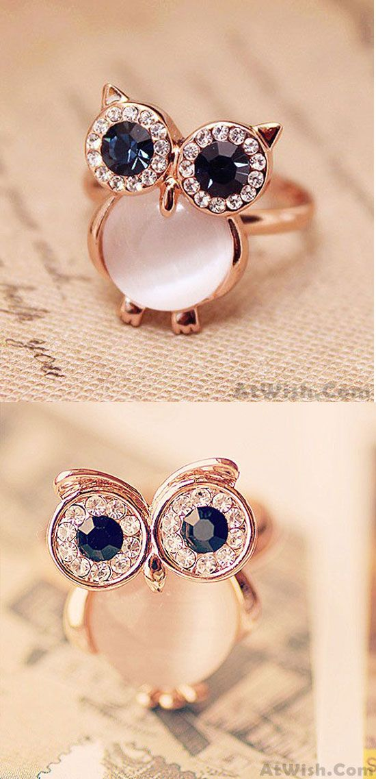 A perfect gift! Lovely Owl Opal Opening Animal Ring #ring #owl #opal #cute