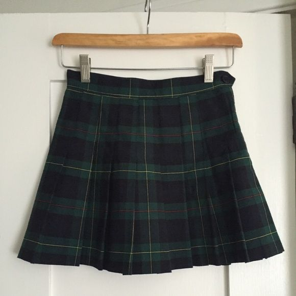 American apparel plaid tennis skirt Practically brand new green and blue plaid skirt bought from American apparel, super cute only selling because I never wear, good for any vintage looking outfit, plaid pattern is dark blue and green with red and yellow accents, size extra small. Message me about price American Apparel Skirts Mini
