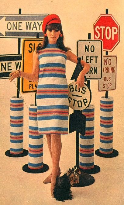 1960's Striped Dress. Mod Sixties. Shift dress color photo print ad model blue red white