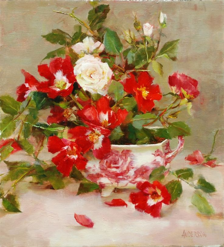 Kathy Anderson I Roses and English Pink I Oil