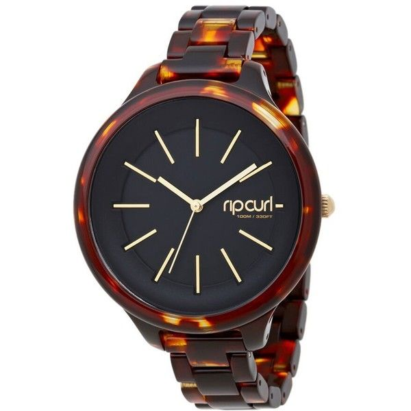 Rip Curl Horizon Acetate Watch ($175) ❤ liked on Polyvore featuring jewelry, watches, tortoise, tortoise shell watches, water resistant watches, tortoise jewelry, faux watches and tortoise shell jewelry