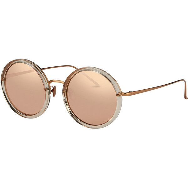 Linda Farrow Trimmed Round Mirrored Sunglasses ($999) ❤ liked on Polyvore featuring accessories, eyewear, sunglasses, accessories sunglasses, rose gold, mirror lens sunglasses, round frame glasses, round mirror sunglasses, lens glasses and round glasses