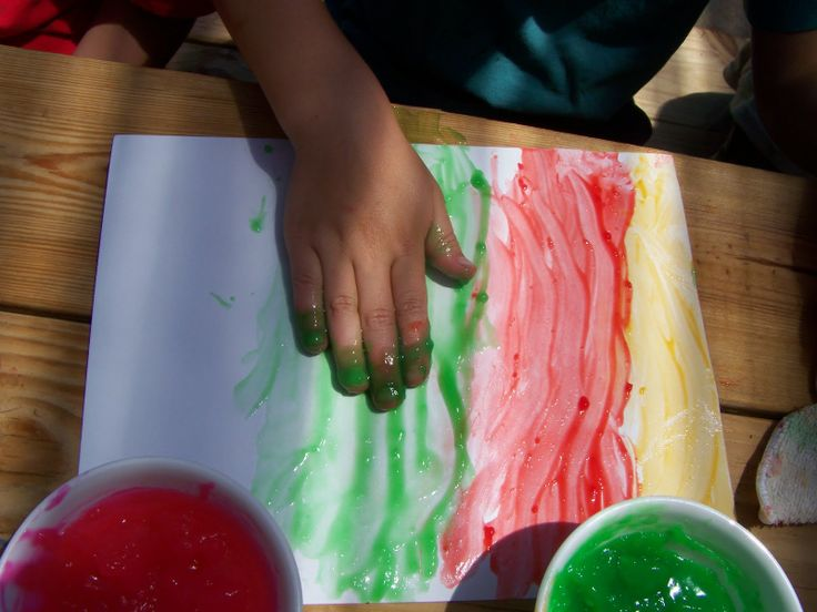 Homemade Finger Paint with Recipe.  Safe for little toddlers. All edible ingredients, though it won't taste good!