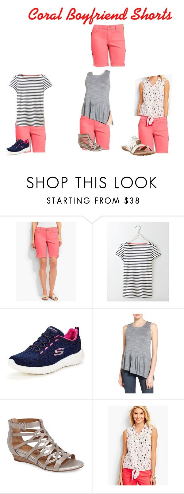 """""""Coral Shorts Outfits"""" by jctkoontz on Polyvore featuring Talbots, Boden, Skechers, Gibson, Söfft and b.o.c. Børn Concept"""