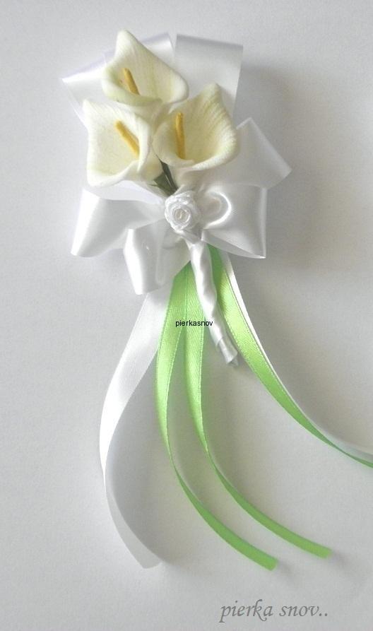 Svadobné pierko - Kala - bielo zelená