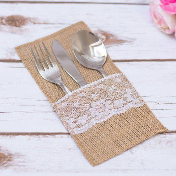 Cutlery Holder Wedding Burlap Rustic Cutlery Holders Buck Doe
