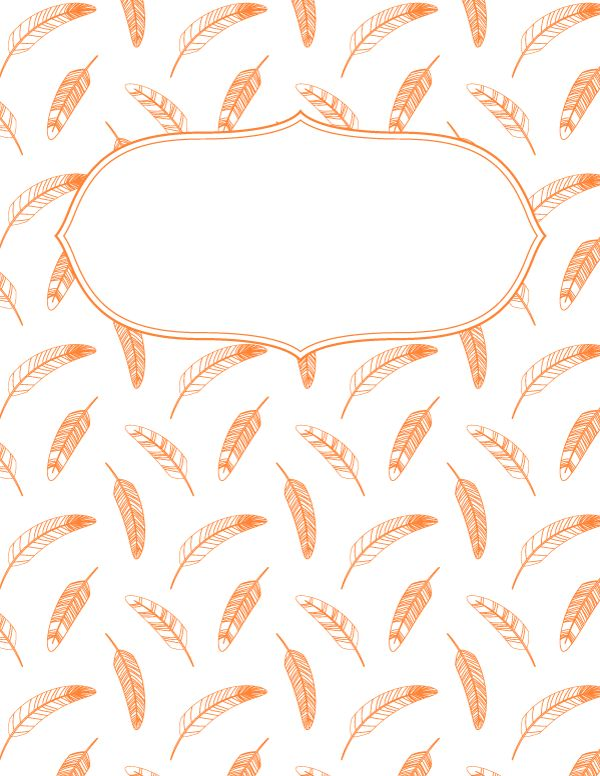 Free printable orange feather binder cover template. Download the cover in JPG or PDF format at http://bindercovers.net/download/orange-feather-binder-cover/