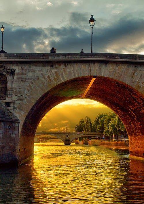 Sunset Kiss on Bridge of River Seine, Paris France