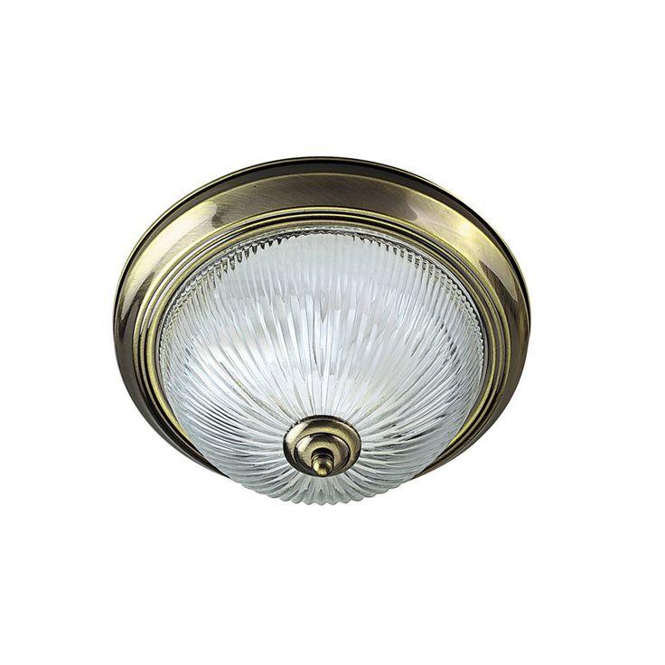 Searchlight 4370 American Diner Flush 2 Light Flush Ceiling Light Antique Brass