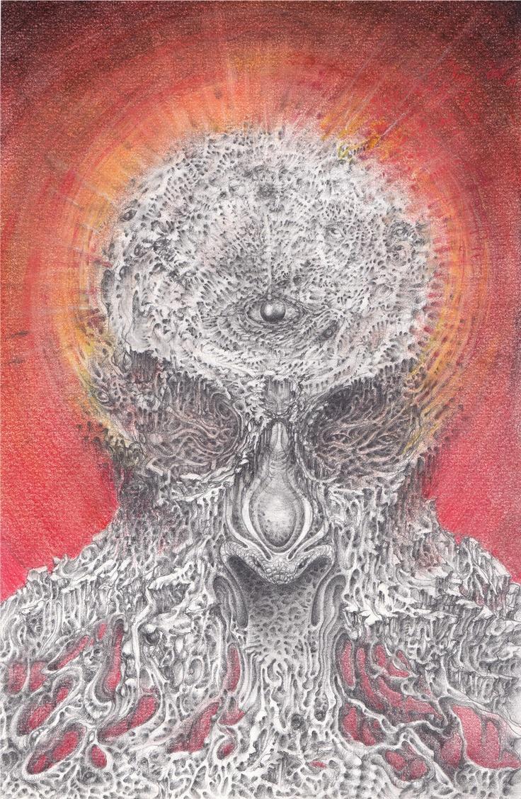 Transfiguration    Pencil  Pastels  2011  #surreal #visionary #drawing